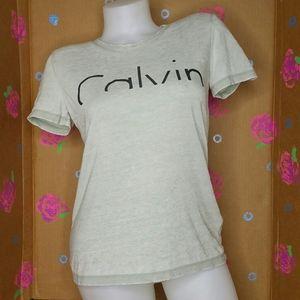 Calvin Klein Light Green Semi Sheer T Shirt XS